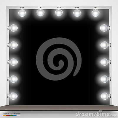 Mirror with bulbs for makeup. Vector Illustration
