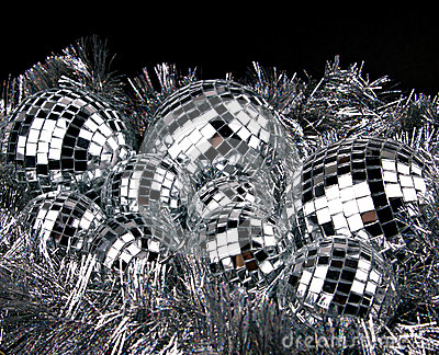 Mirror christmas balls on silver