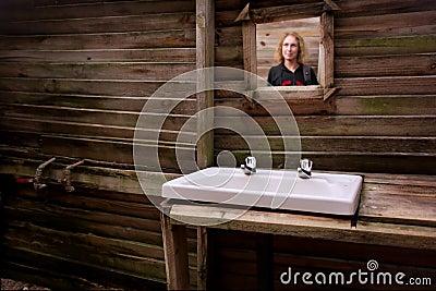 Mirror in dirty bathroom
