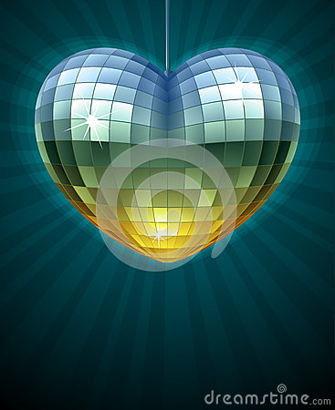 Mirror disco ball in the shape of heart