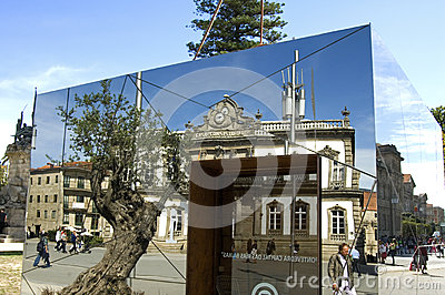 Mirror image of city hall, Pontevedra, Spain Editorial Photo