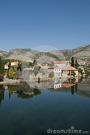 Mirror image of the old buildings in the town of Trebinje, Bosni