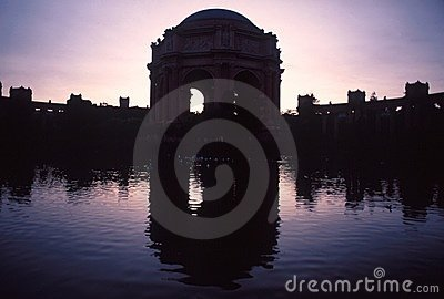 Mirror image of Palace of Fine Arts Theatre  in silhouettes