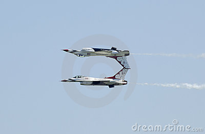 Mirror Pass done by US Air Force Thunderbirds Editorial Stock Photo