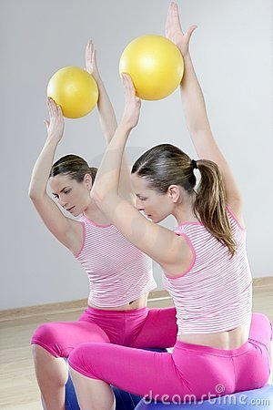 Mirror pilates gym woman stability ball sport gym