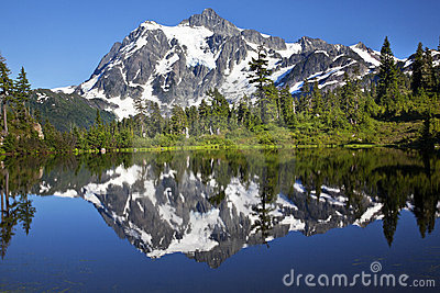 Mirror Reflection Lake Mount Shuksan Washington