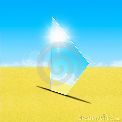 Mirror on sand
