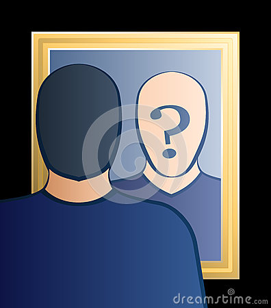 Mirror Questions Of Mirror Who Am I Man Stock Vector Image 42106549