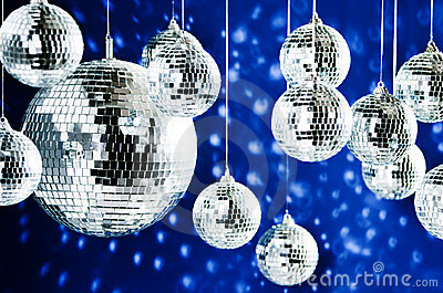 Mirrored disco balls with light spots