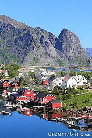 Mirroring cabins of  Reine in Lofoten