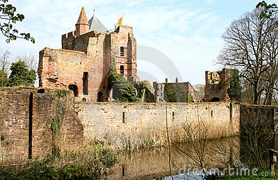 Mirroring ruins of dutch Brederode Castle