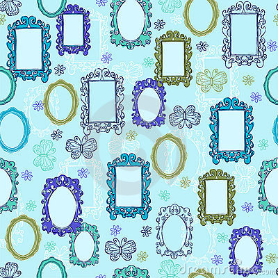 Mirrors and Picture Frames Seamless Repeat Pattern