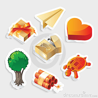 Miscellaneous sticker icon set