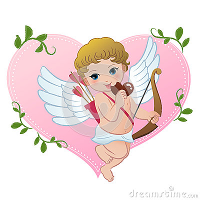 Mischief cupid snibbling heart shaped chocolate