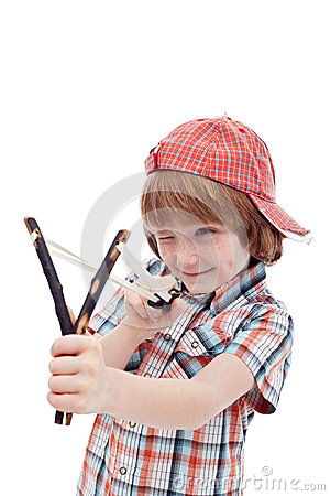 Mischievous kid aiming with sling