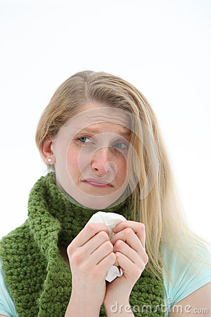 Miserable woman with the flu