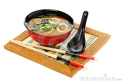 Miso soup with green onion on white background.