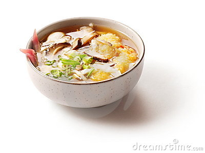 Miso soup with mushrooms in small dish