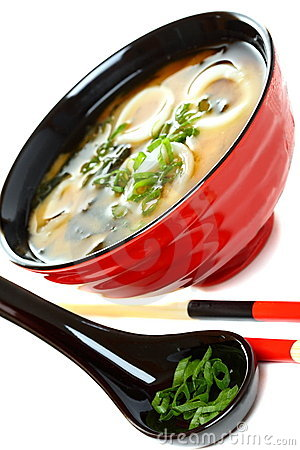 Miso soup with seafood and green onions.