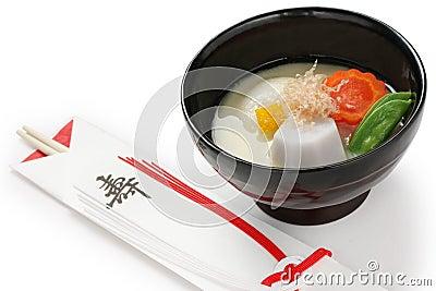 Miso soup zoni (japanese rice cake soup) , japanse