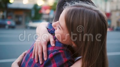 Miss affectionate sincere couple hug street