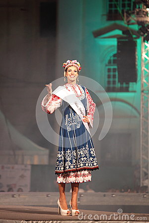 Miss Bulgaria in her national costume Editorial Stock Image