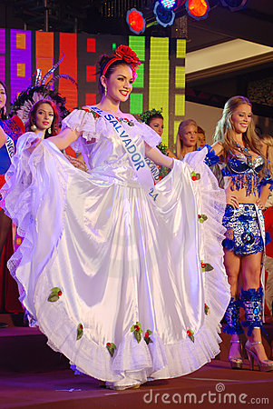 Miss el salvador wearing National costume Editorial Stock Image