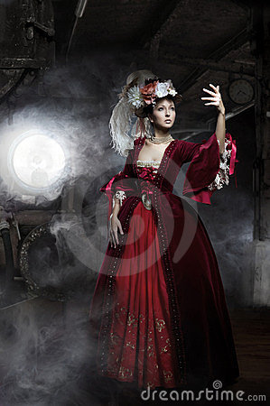 Free Miss In The Old Dress With Train Royalty Free Stock Photography - 24150767