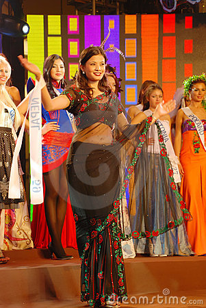 Miss nepal wearing National costume Editorial Stock Image