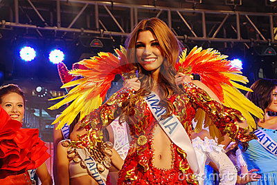 Miss panama with National costume Editorial Image