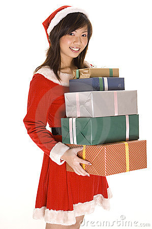 Free Miss Santa And Presents 2 Stock Photos - 246003