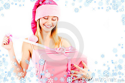 Miss Santa with gift