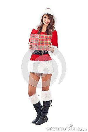 Miss Santa with gift box