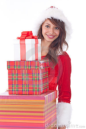 Miss Santa with gift box