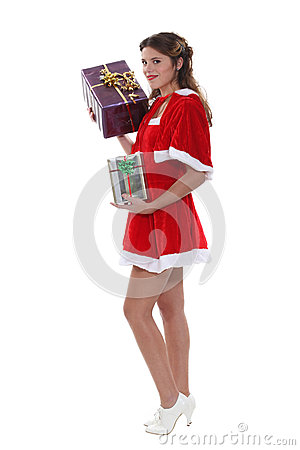 Miss Santa with gifts