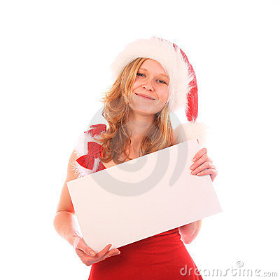 Miss Santa is Holding an ad