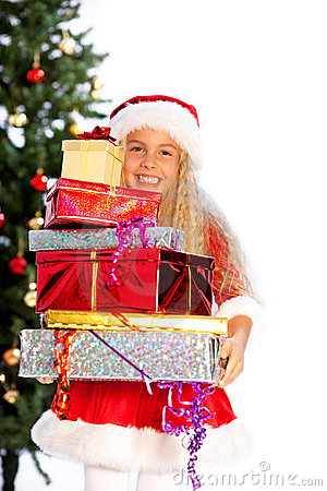 Miss santa holding  gifts