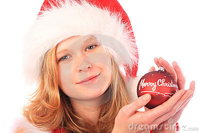 Miss Santa is Holding a Red Christmas Tree Ball
