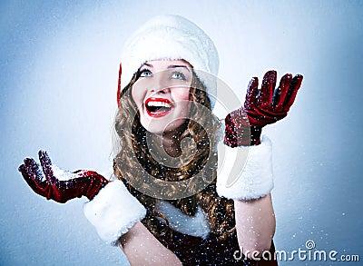 Miss Santa looking at the snow