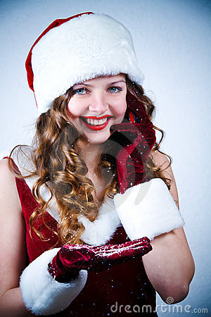 Miss Santa looking at the snow and cellular