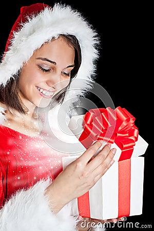 Miss Santa opening a gift box