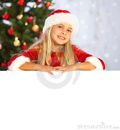 Miss santa presenting copyspace