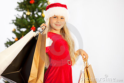 Miss santa with shopping bags
