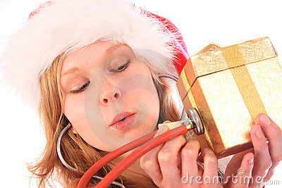 Miss Santa is Sounding a Golden Gift Box