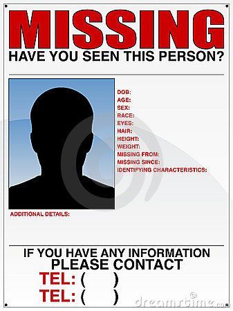 Free Missing Person Poster Stock Images - 16343674