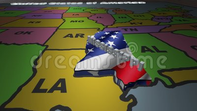 Mississippi pull out from USA states abbreviations map stock footage