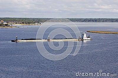 Mississippi River Barge And Tug Boat