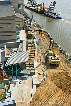 Mississippi River flood preparation Editorial Image