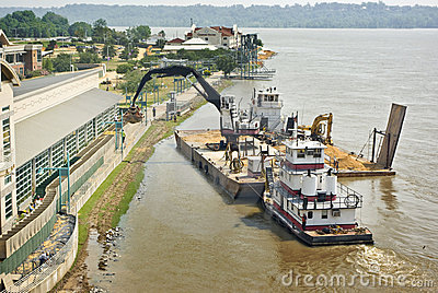 Mississippi River flood preparation Editorial Photo