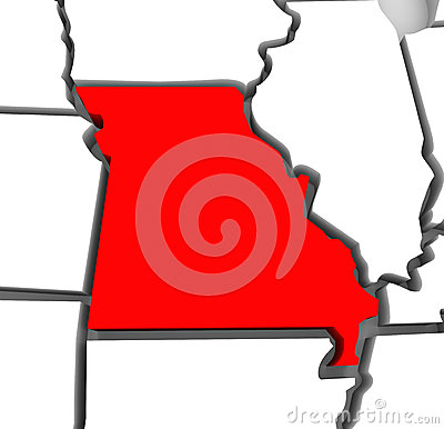 Missouri Red Abstract 3D State Map United States America
